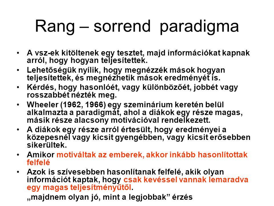 Rang – sorrend paradigma •A vsz-ek kitöltenek egy tesztet, majd információkat kapnak arról, hogy hogyan teljesítettek. •Lehetőségük nyílik, hogy megné