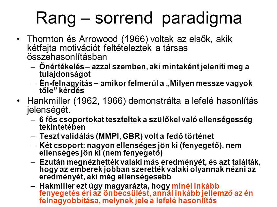 Rang – sorrend paradigma •Thornton és Arrowood (1966) voltak az elsők, akik kétfajta motivációt feltételeztek a társas összehasonlításban –Önértékelés