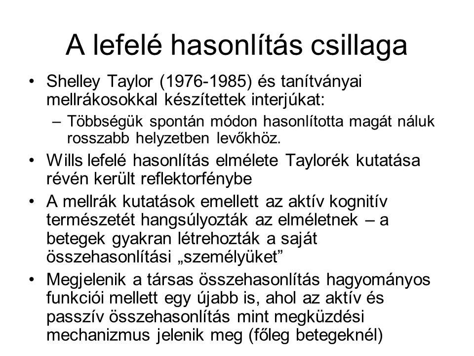A lefelé hasonlítás csillaga •Shelley Taylor (1976-1985) és tanítványai mellrákosokkal készítettek interjúkat: –Többségük spontán módon hasonlította m
