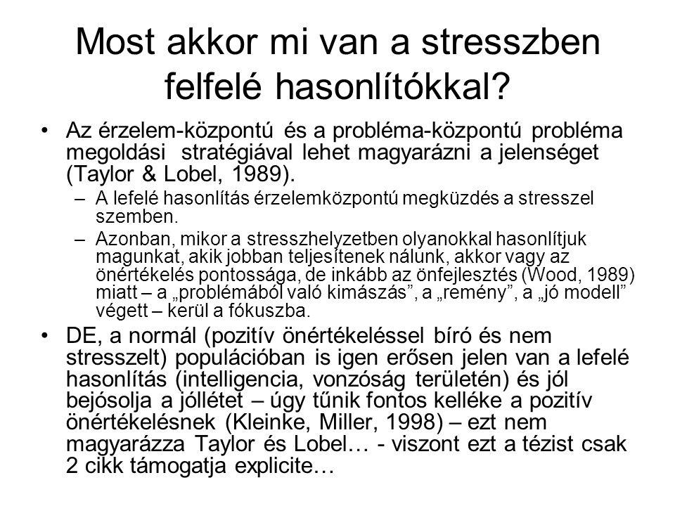 Most akkor mi van a stresszben felfelé hasonlítókkal? •Az érzelem-központú és a probléma-központú probléma megoldási stratégiával lehet magyarázni a j