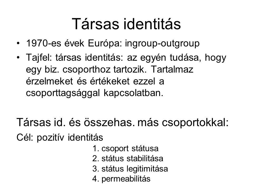 Társas identitás •1970-es évek Európa: ingroup-outgroup •Tajfel: társas identitás: az egyén tudása, hogy egy biz. csoporthoz tartozik. Tartalmaz érzel