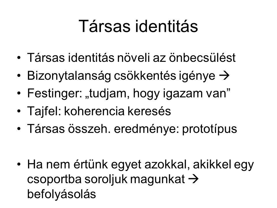 """Társas identitás •Társas identitás növeli az önbecsülést •Bizonytalanság csökkentés igénye  •Festinger: """"tudjam, hogy igazam van"""" •Tajfel: koherencia"""