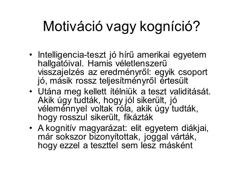Motiváció vagy kogníció? •Intelligencia-teszt jó hírű amerikai egyetem hallgatóival. Hamis véletlenszerű visszajelzés az eredményről: egyik csoport jó
