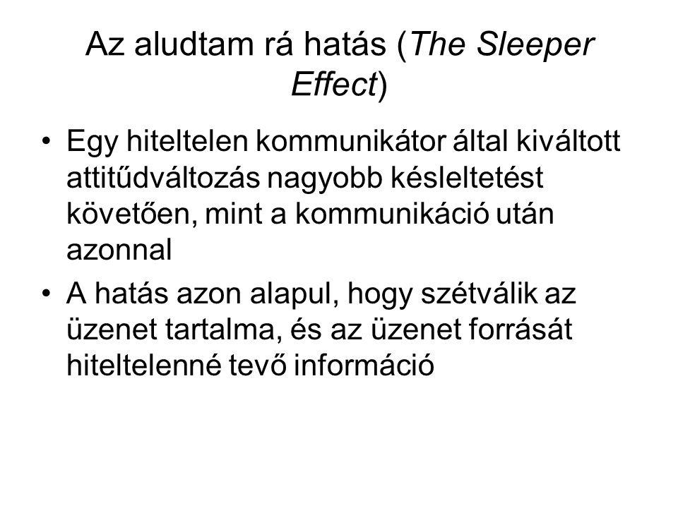 Az aludtam rá hatás (The Sleeper Effect) •Egy hiteltelen kommunikátor által kiváltott attitűdváltozás nagyobb késleltetést követően, mint a kommunikác