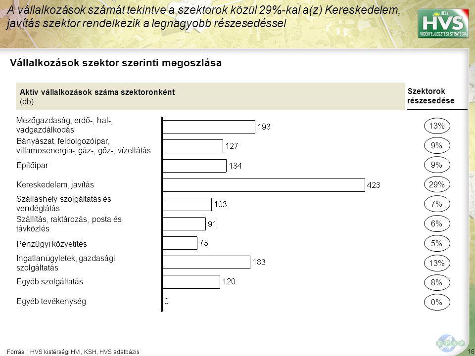 16 Forrás:HVS kistérségi HVI, KSH, HVS adatbázis Vállalkozások szektor szerinti megoszlása A vállalkozások számát tekintve a szektorok közül 29%-kal a(z) Kereskedelem, javítás szektor rendelkezik a legnagyobb részesedéssel Aktív vállalkozások száma szektoronként (db) Mezőgazdaság, erdő-, hal-, vadgazdálkodás Bányászat, feldolgozóipar, villamosenergia-, gáz-, gőz-, vízellátás Építőipar Kereskedelem, javítás Szálláshely-szolgáltatás és vendéglátás Szállítás, raktározás, posta és távközlés Pénzügyi közvetítés Ingatlanügyletek, gazdasági szolgáltatás Egyéb szolgáltatás Egyéb tevékenység Szektorok részesedése 13% 9% 29% 7% 6% 13% 8% 0% 9% 5%