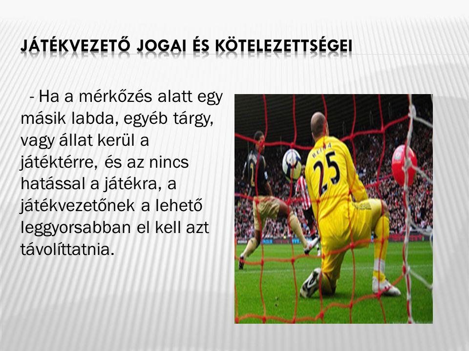 - Ha a mérkőzés alatt egy másik labda, egyéb tárgy, vagy állat kerül a játéktérre, és az nincs hatással a játékra, a játékvezetőnek a lehető leggyorsa