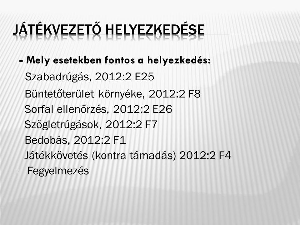 - Mely esetekben fontos a helyezkedés: Szabadrúgás, 2012:2 E25 Büntetőterület környéke, 2012:2 F8 Sorfal ellenőrzés, 2012:2 E26 Szögletrúgások, 2012:2 F7 Bedobás, 2012:2 F1 Játékkövetés (kontra támadás) 2012:2 F4  Fegyelmezés