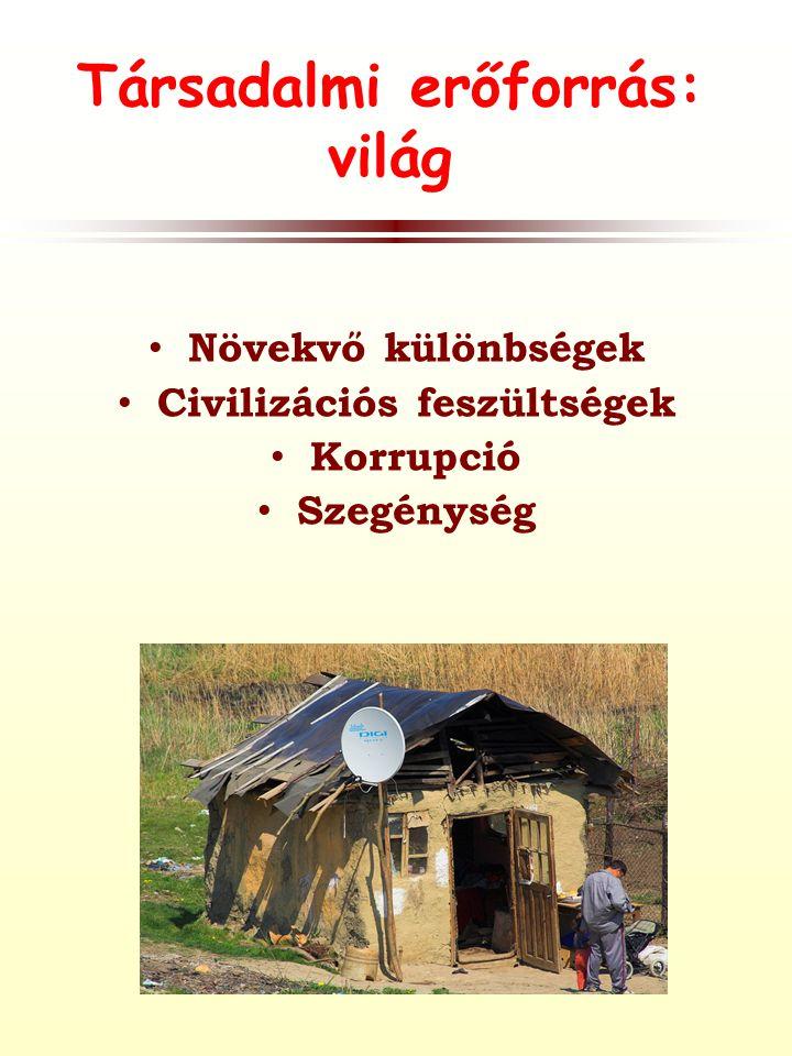 Társadalmi erőforrás: világ • Növekvő különbségek • Civilizációs feszültségek • Korrupció • Szegénység
