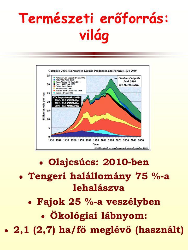 Természeti erőforrás: világ ● Olajcsúcs: 2010-ben ● Tengeri halállomány 75 %-a lehalászva ● Fajok 25 %-a veszélyben ● Ökológiai lábnyom: ● 2,1 (2,7) ha/fő meglévő (használt)