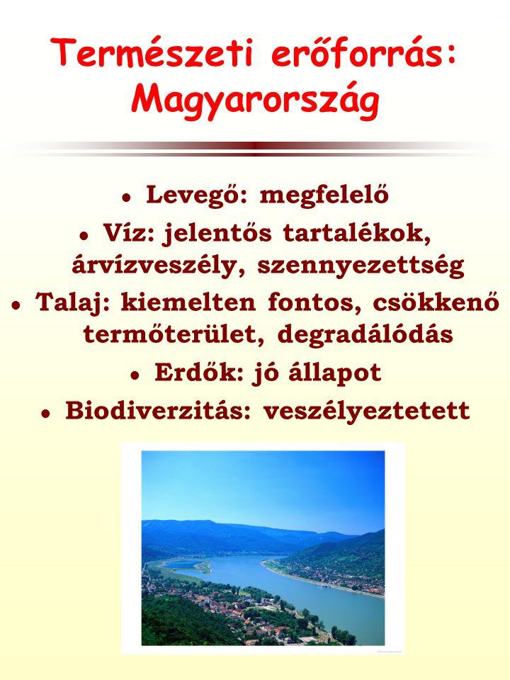 Természeti erőforrás: Magyarország ● Levegő: megfelelő ● Víz: jelentős tartalékok, árvízveszély, szennyezettség ● Talaj: kiemelten fontos, csökkenő termőterület, degradálódás ● Erdők: jó állapot ● Biodiverzitás: veszélyeztetett
