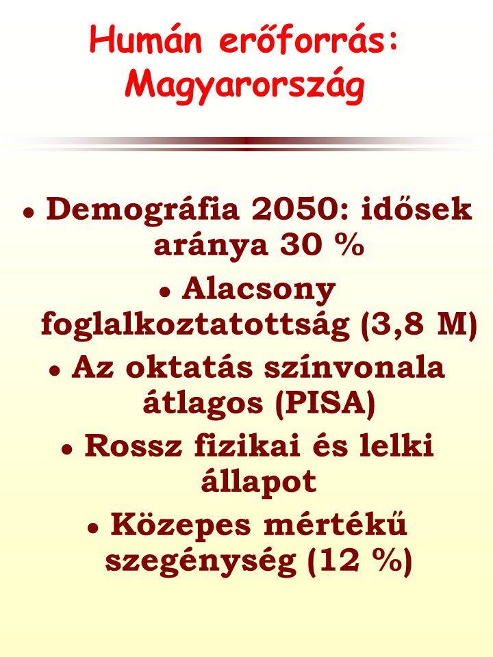 Humán erőforrás: Magyarország ● Demográfia 2050: idősek aránya 30 % ● Alacsony foglalkoztatottság (3,8 M) ● Az oktatás színvonala átlagos (PISA) ● Rossz fizikai és lelki állapot ● Közepes mértékű szegénység (12 %)