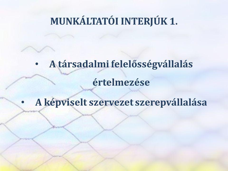 SZEREP TANMŰHELY MUNKÁLTATÓI INTERJÚK 1. • A társadalmi felelősségvállalás értelmezése • A képviselt szervezet szerepvállalása