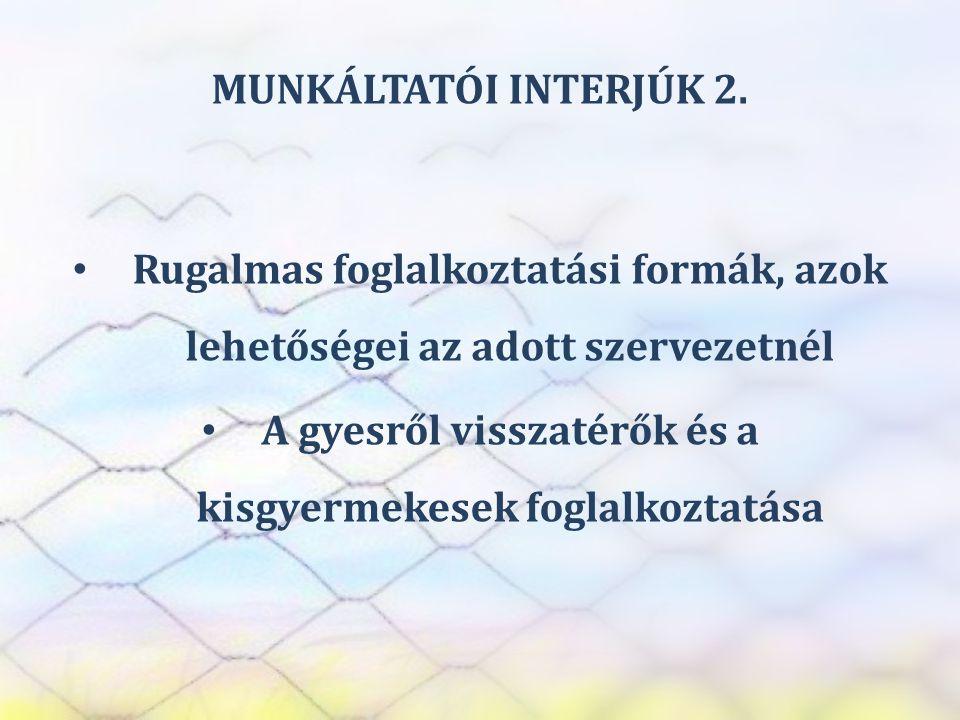 SZEREP TANMŰHELY MUNKÁLTATÓI INTERJÚK 2. • Rugalmas foglalkoztatási formák, azok lehetőségei az adott szervezetnél • A gyesről visszatérők és a kisgye