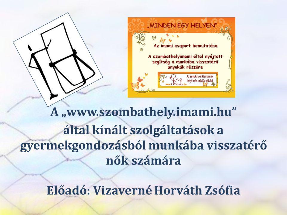 """SZEREP TANMŰHELY A """"www.szombathely.imami.hu"""" által kínált szolgáltatások a gyermekgondozásból munkába visszatérő nők számára Előadó: Vizaverné Horvát"""
