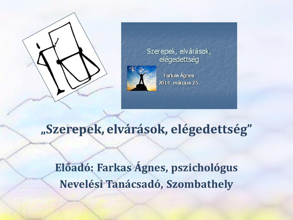 """SZEREP TANMŰHELY """"Szerepek, elvárások, elégedettség"""" Előadó: Farkas Ágnes, pszichológus Nevelési Tanácsadó, Szombathely"""