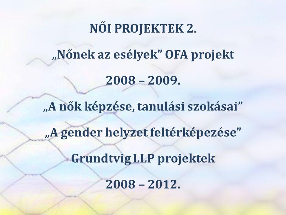 """SZEREP TANMŰHELY NŐI PROJEKTEK 2. """"Nőnek az esélyek"""" OFA projekt 2008 – 2009. """"A nők képzése, tanulási szokásai"""" """"A gender helyzet feltérképezése"""" Gru"""