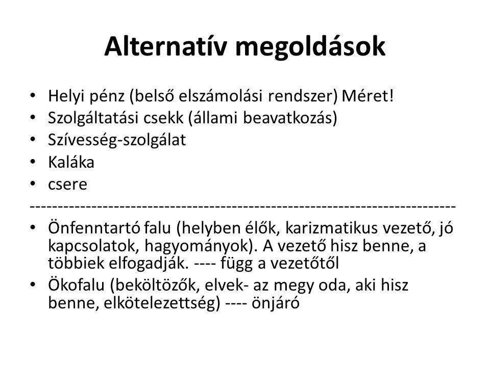 Alternatív megoldások • Helyi pénz (belső elszámolási rendszer) Méret.