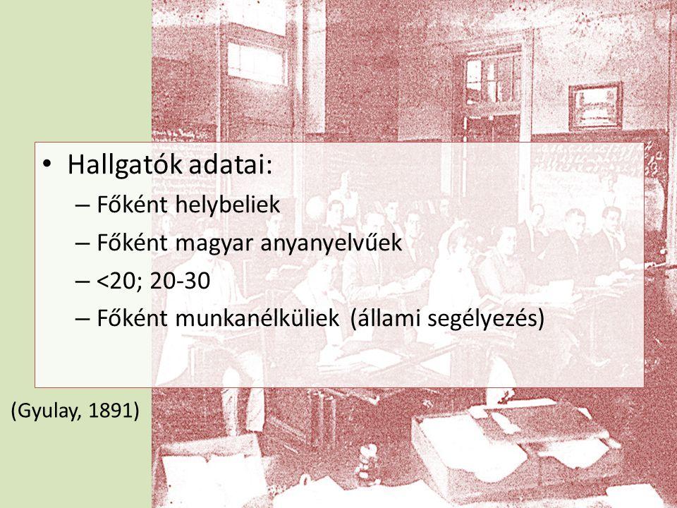 • Hallgatók adatai: – Főként helybeliek – Főként magyar anyanyelvűek – <20; 20-30 – Főként munkanélküliek (állami segélyezés) (Gyulay, 1891)