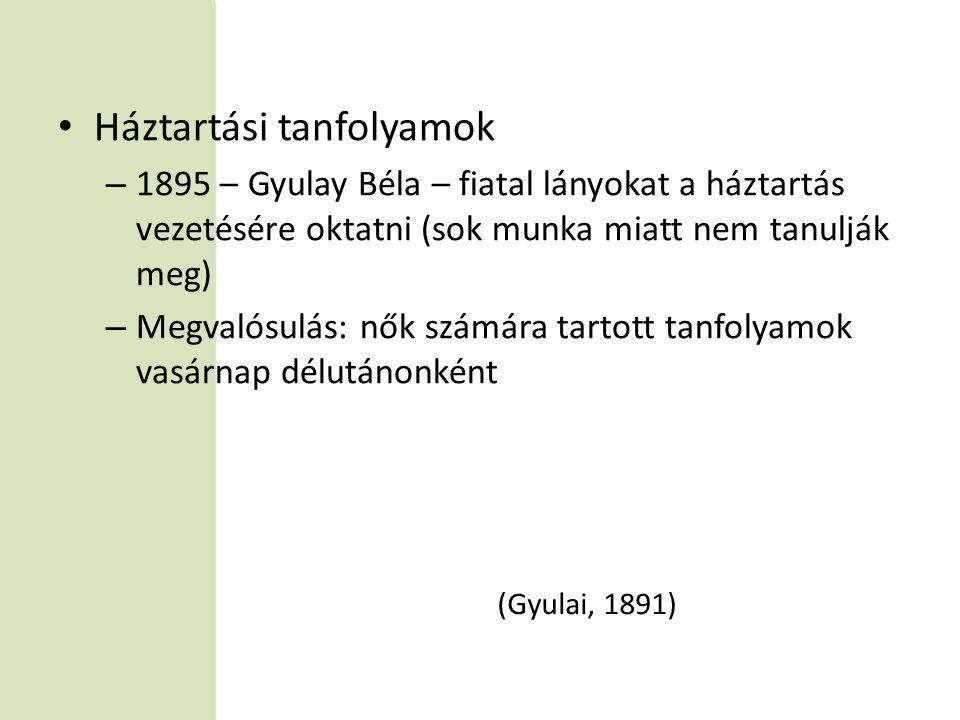 • Háztartási tanfolyamok – 1895 – Gyulay Béla – fiatal lányokat a háztartás vezetésére oktatni (sok munka miatt nem tanulják meg) – Megvalósulás: nők számára tartott tanfolyamok vasárnap délutánonként (Gyulai, 1891)
