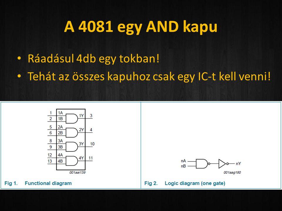 A 4081 egy AND kapu • Ráadásul 4db egy tokban! • Tehát az összes kapuhoz csak egy IC-t kell venni!