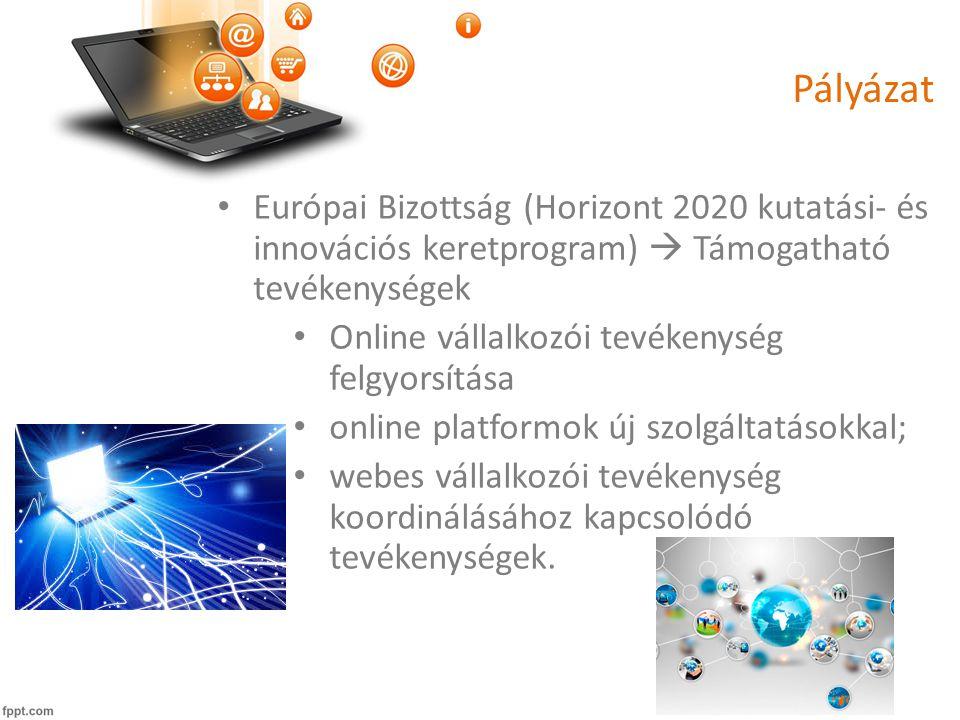 Pályázat • Európai Bizottság (Horizont 2020 kutatási- és innovációs keretprogram)  Támogatható tevékenységek • Online vállalkozói tevékenység felgyorsítása • online platformok új szolgáltatásokkal; • webes vállalkozói tevékenység koordinálásához kapcsolódó tevékenységek.