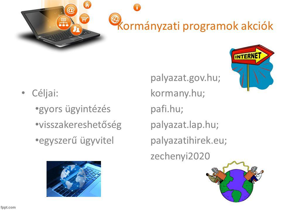 Kormányzati programok akciók • Céljai: • gyors ügyintézés • visszakereshetőség • egyszerű ügyvitel palyazat.gov.hu; kormany.hu; pafi.hu; palyazat.lap.hu; palyazatihirek.eu; zechenyi2020