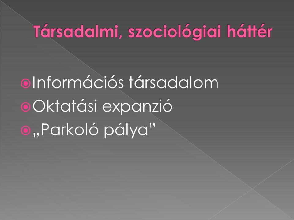 """ Információs társadalom  Oktatási expanzió  """"Parkoló pálya"""""""