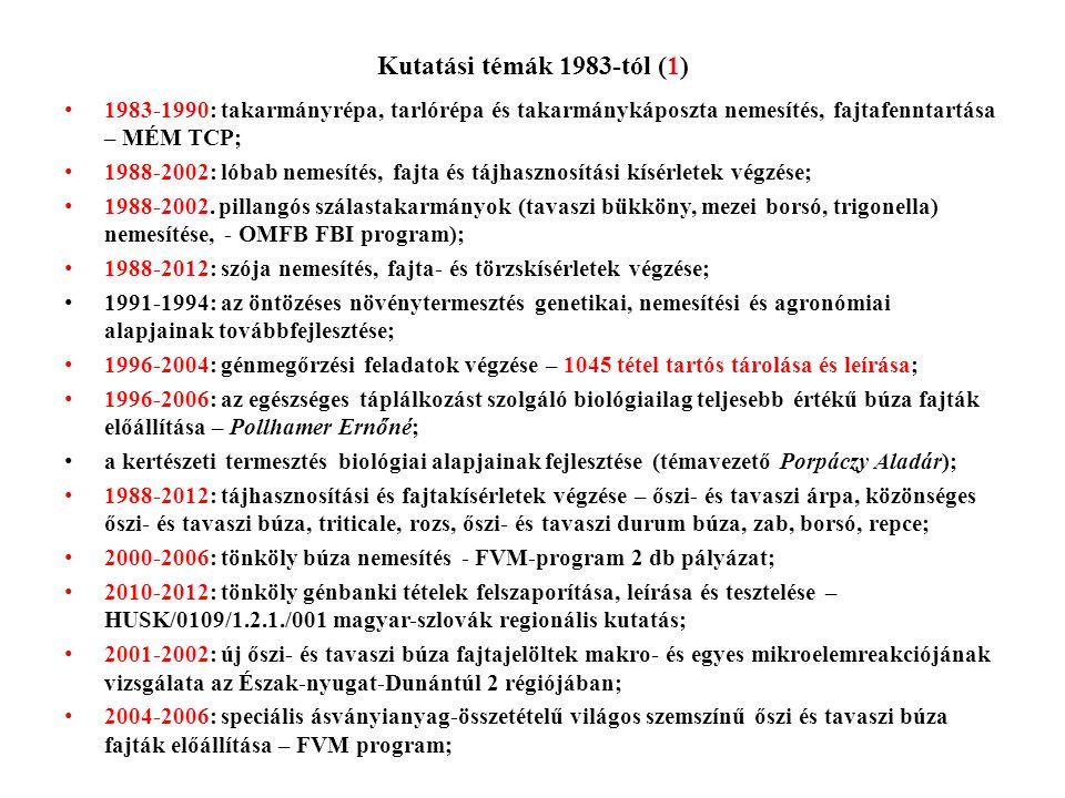 Kutatási témák 1983-tól (1) • 1983-1990: takarmányrépa, tarlórépa és takarmánykáposzta nemesítés, fajtafenntartása – MÉM TCP; • 1988-2002: lóbab nemes