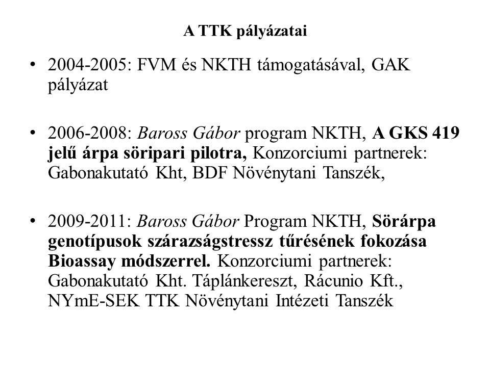 A TTK pályázatai • 2004-2005: FVM és NKTH támogatásával, GAK pályázat • 2006-2008: Baross Gábor program NKTH, A GKS 419 jelű árpa söripari pilotra, Ko
