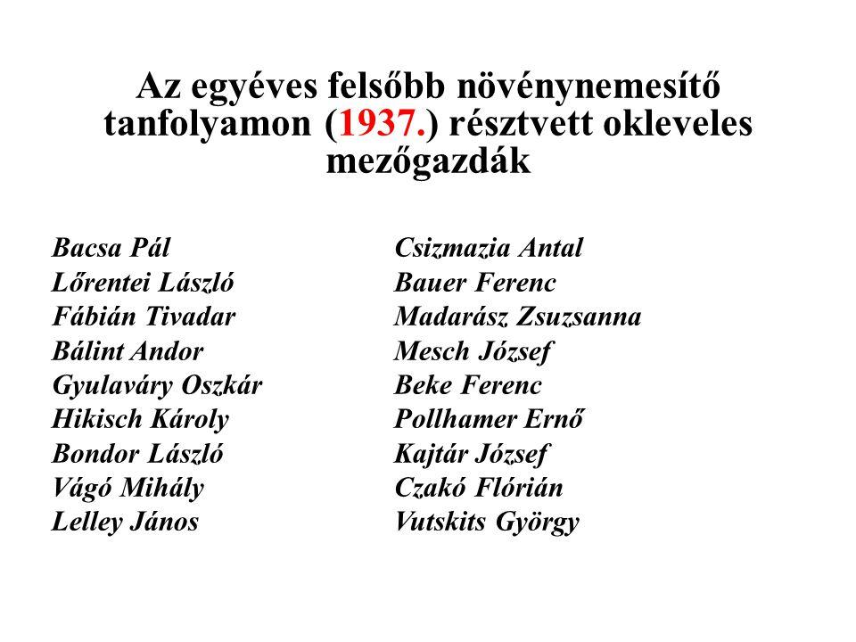 Az egyéves felsőbb növénynemesítő tanfolyamon (1937.) résztvett okleveles mezőgazdák Bacsa PálCsizmazia Antal Lőrentei LászlóBauer Ferenc Fábián Tivad
