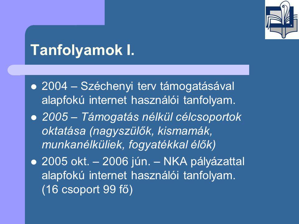 Tanfolyamok I.  2004 – Széchenyi terv támogatásával alapfokú internet használói tanfolyam.