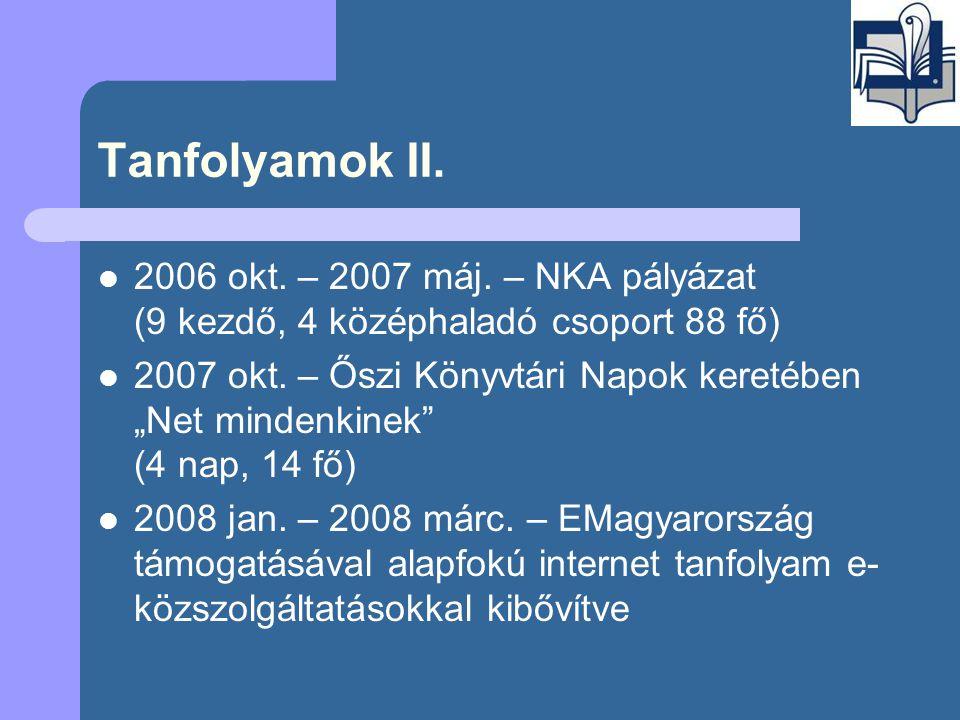 Tanfolyamok II.  2006 okt. – 2007 máj.