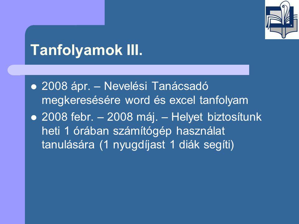 Tanfolyamok III.  2008 ápr.