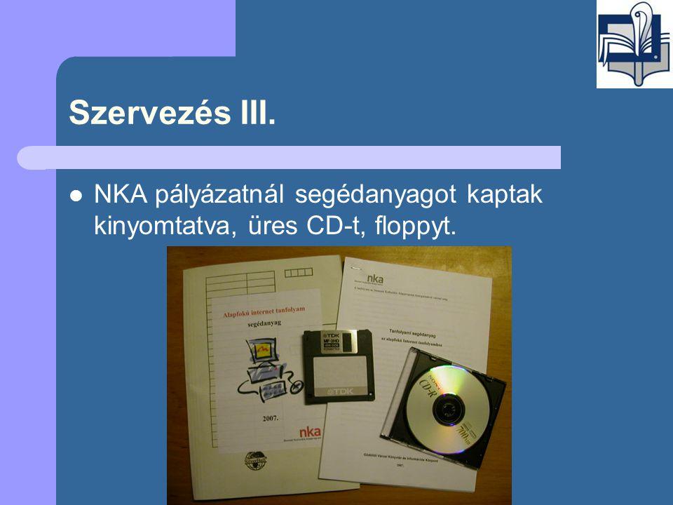 Szervezés III.  NKA pályázatnál segédanyagot kaptak kinyomtatva, üres CD-t, floppyt.