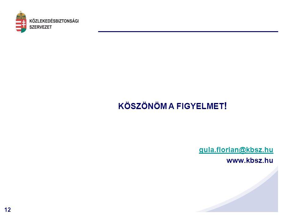 12 KÖSZÖNÖM A FIGYELMET ! gula.florian@kbsz.hu www.kbsz.hu