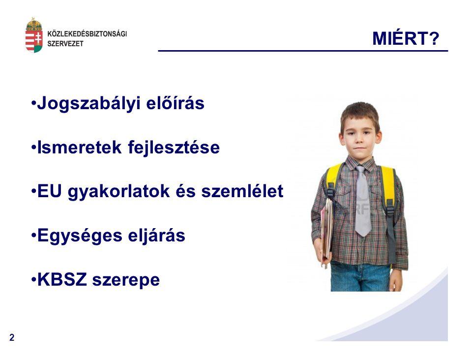 2 MIÉRT? •Jogszabályi előírás •Ismeretek fejlesztése •EU gyakorlatok és szemlélet •Egységes eljárás •KBSZ szerepe