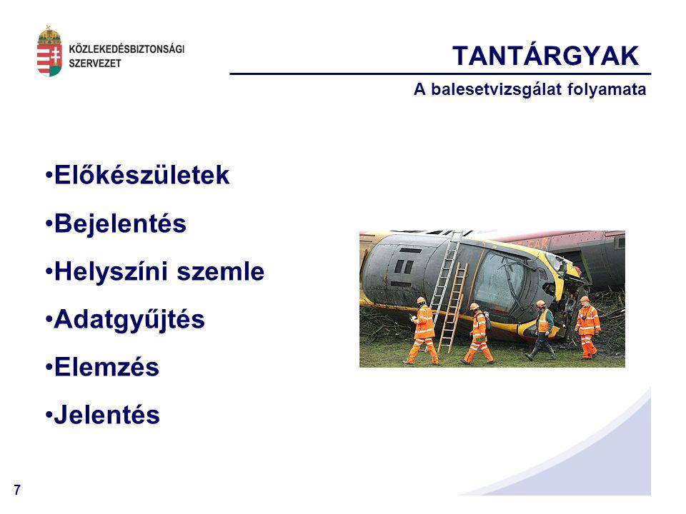 7 TANTÁRGYAK A balesetvizsgálat folyamata •Előkészületek •Bejelentés •Helyszíni szemle •Adatgyűjtés •Elemzés •Jelentés