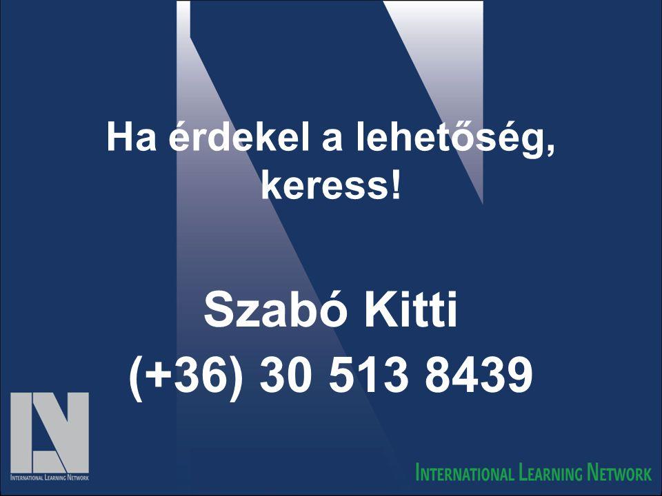 Ha érdekel a lehetőség, keress! Szabó Kitti (+36) 30 513 8439
