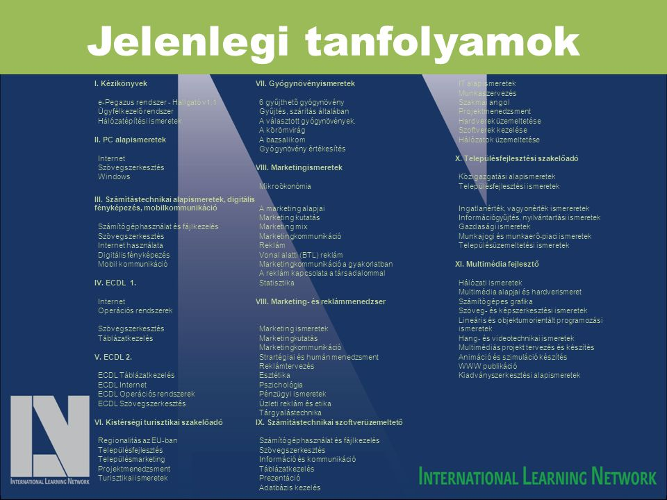 Jelenlegi tanfolyamok I. KézikönyvekVII. GyógynövényismeretekIT alapismeretek Munkaszervezés e-Pegazus rendszer - Hallgató v1.16 gyűjthető gyógynövény