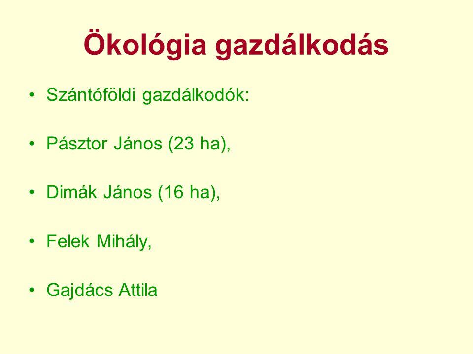 Ökológia gazdálkodás •Szántóföldi gazdálkodók: •Pásztor János (23 ha), •Dimák János (16 ha), •Felek Mihály, •Gajdács Attila