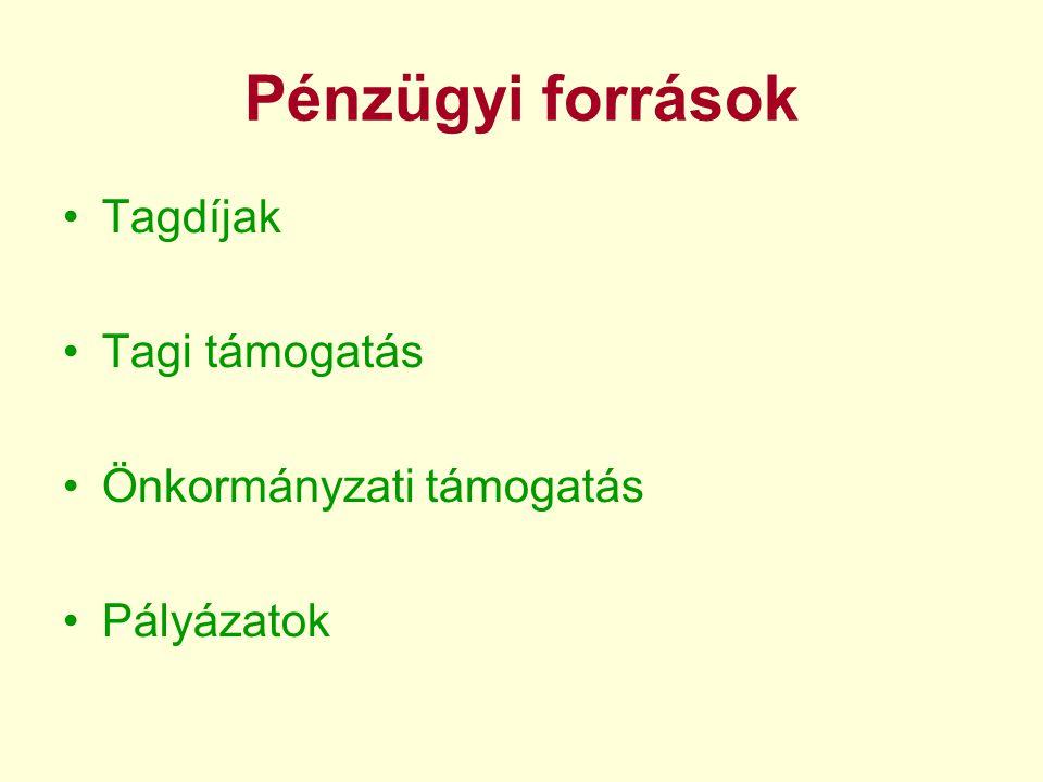 Pénzügyi források •Tagdíjak •Tagi támogatás •Önkormányzati támogatás •Pályázatok
