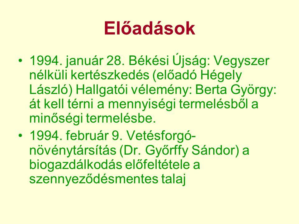 Előadások •1994. január 28.
