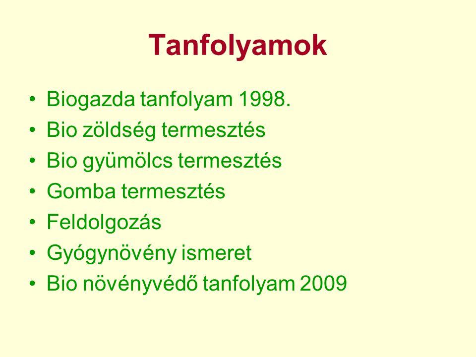 •Biogazda alap-tanfolyam 1998. január 17-február 28. Tapasztalatcsere Szarvason.