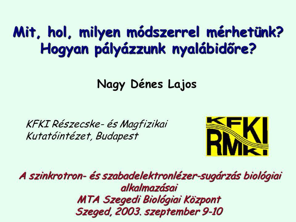 Nagy Dénes Lajos KFKI Részecske- és Magfizikai Kutatóintézet, Budapest A szinkrotron- és szabadelektronlézer-sugárzás biológiai alkalmazásai MTA Szegedi Biológiai Központ Szeged, 2003.