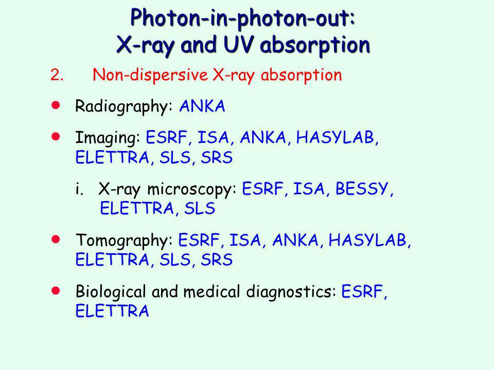 Photon-in-photon-out: X-ray and UV absorption 2.