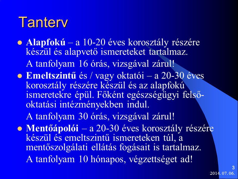 2014. 07. 06. 3 Tanterv  Alapfokú – a 10-20 éves korosztály részére készül és alapvető ismereteket tartalmaz. A tanfolyam 16 órás, vizsgával zárul! 