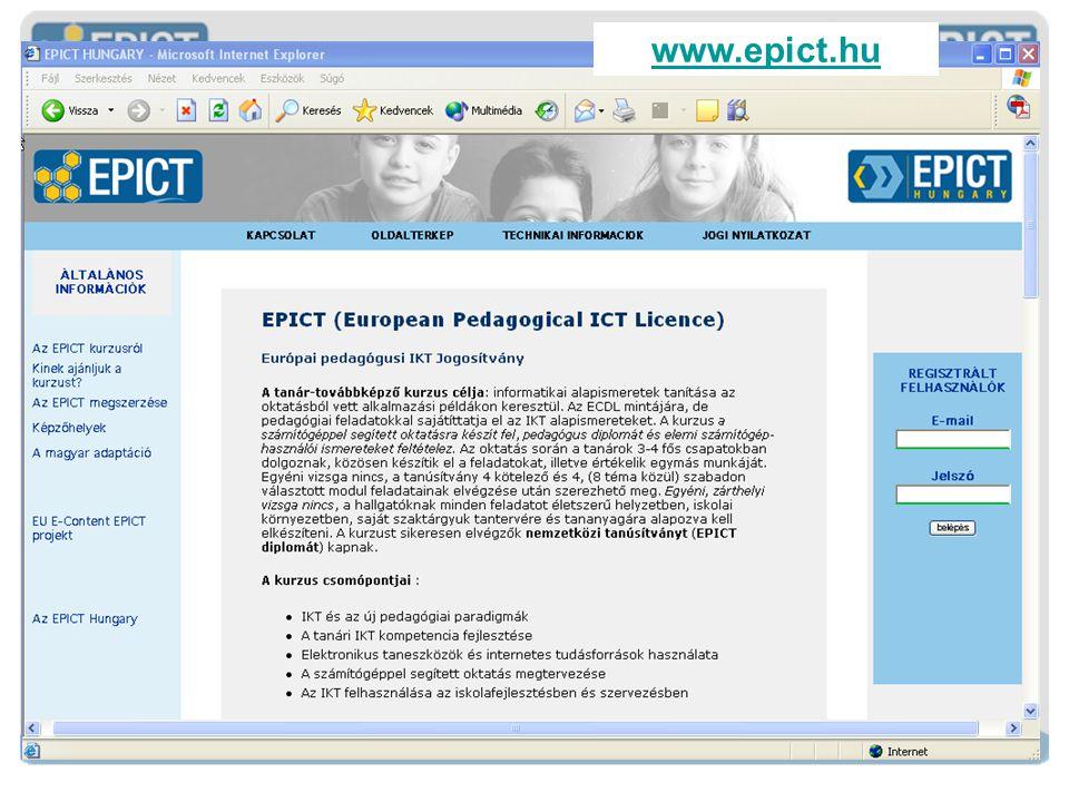 E URÓPAI P EDAGÓGIAI IKT J OGOSÍTVÁNY www.epict.hu