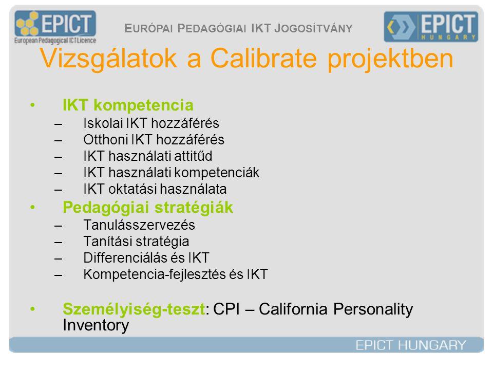 E URÓPAI P EDAGÓGIAI IKT J OGOSÍTVÁNY Vizsgálatok a Calibrate projektben •IKT kompetencia –Iskolai IKT hozzáférés –Otthoni IKT hozzáférés –IKT használati attitűd –IKT használati kompetenciák –IKT oktatási használata •Pedagógiai stratégiák –Tanulásszervezés –Tanítási stratégia –Differenciálás és IKT –Kompetencia-fejlesztés és IKT •Személyiség-teszt: CPI – California Personality Inventory