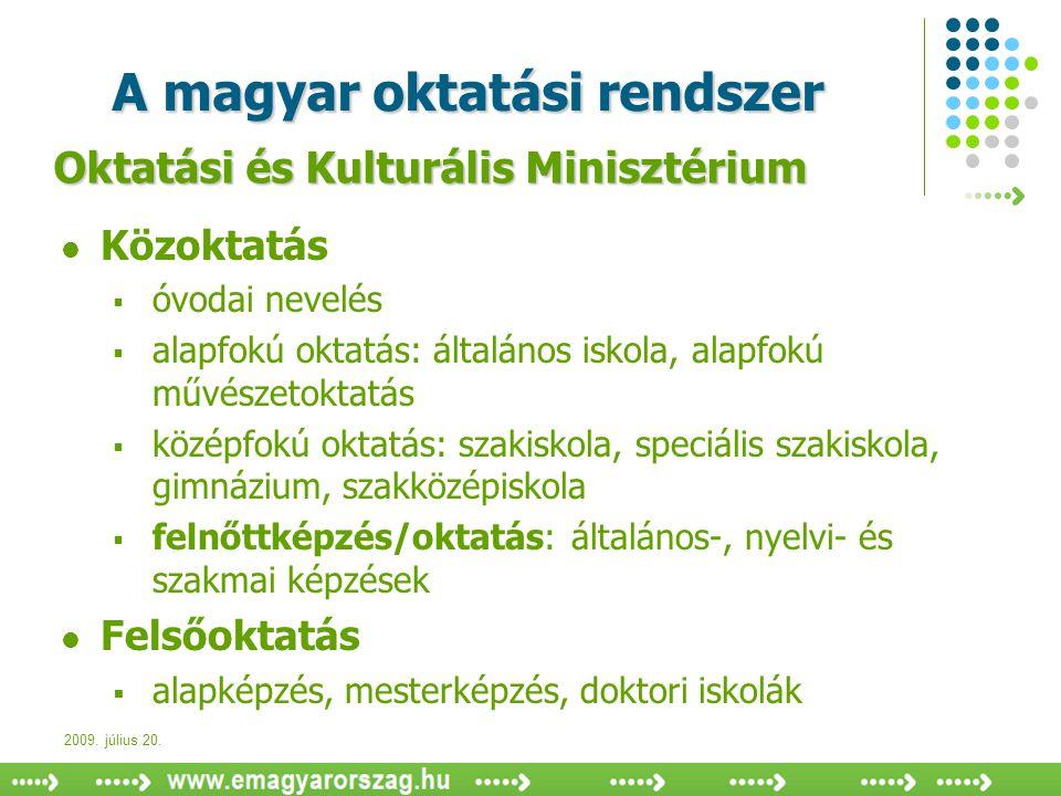 2009. július 20. A magyar oktatási rendszer  Közoktatás  óvodai nevelés  alapfokú oktatás: általános iskola, alapfokú művészetoktatás  középfokú o
