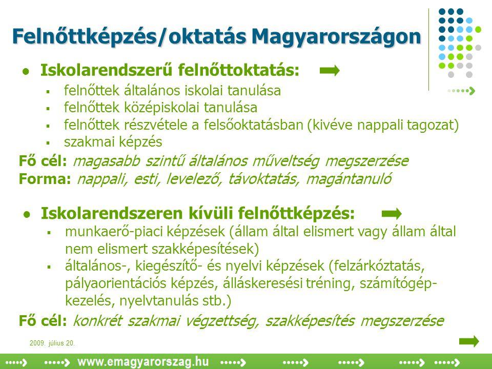2009. július 20. Felnőttképzés/oktatás Magyarországon  Iskolarendszerű felnőttoktatás:  felnőttek általános iskolai tanulása  felnőttek középiskola